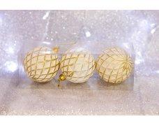 Набор шаров «Вафля серебряная» 8см 3шт.(96pcs)SX-2104