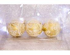 Набор шаров «Золотой узор» 8см 3шт.(96pcs)SX-2107