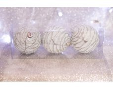 Набор шаров «Серебряный зефир» 8см 3шт.(96pcs)SX-2112