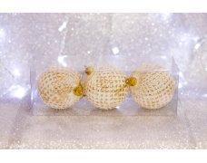Набор шаров «Шишка золотая» 8см 3шт.(96pcs)SX-2114