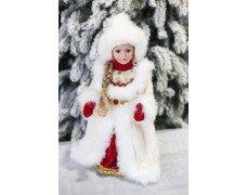 Снегурочка бело-красная музыка 40см