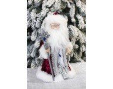Дед Мороз бордовый с серебром музыка 40см
