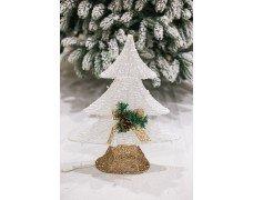 Снежная елочка 50см бело-золотой светящ.