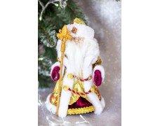 Дед Мороз бордовый с серебром музык. 30см