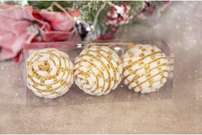 Бело-золотые шарики на елку 3шт