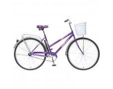 """Велосипед FOXX 28"""" дорожный LADY FIESTA,20, фиолетовыйй + передняя корзина"""