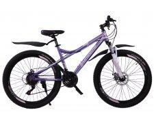 """Велосипед скоростной 400MD 26"""" фиолетовый, 21 скор.(Shimano), сталь.рама, тормаза мех.дисковые"""