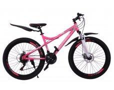 """Велосипед скоростной 400MD 26"""" розовый, 21 скор.(Shimano), сталь.рама, тормаза мех.дисковые"""