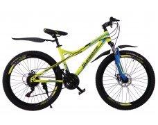 """Велосипед скоростной 400MD 26"""" желтый, 21 скор.(Shimano), сталь.рама, тормаза мех.дисковые"""