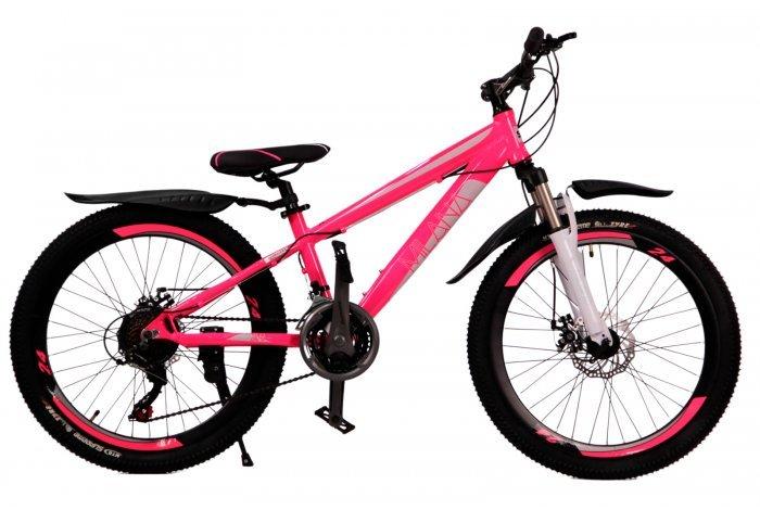 """Велосипед скоростной 24 """"Milana"""" розовый, 21 скор.(Shimano), алюм.рама, тормаза мех.дисковые"""