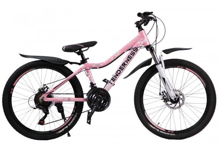 """Велосипед скоростной 24 """"Tenderness"""" розовый, 21 скор.(Shimano), алюм.рама, тормаза мех.дисковые"""