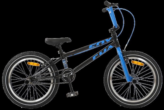 """Велосипед TechTeam Fox 20"""" BMX, черно-синий,рама сталь,4 пеги"""