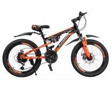 """Велосипед скоростной """"Gladiator"""" 20"""" оранжевый, 2 амортизатора, 21 скор.(Shimano), сталь рама, тормаза мех.дисковые"""