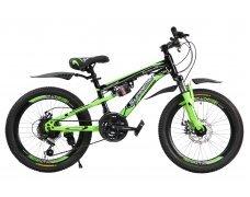 """Велосипед скоростной """"Gladiator"""" 20"""" зеленый, 2 амортизатора, 21 скор.(Shimano), сталь рама, тормаза мех.дисковые"""
