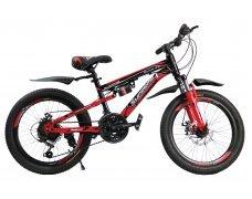 """Велосипед скоростной """"Gladiator"""" 20"""" красный, 2 амортизатора, 21 скор.(Shimano), сталь рама, тормаза мех.дисковые"""