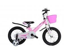 "Велосипед LANQ 14"" алюм. рама, руч. тормоза (розовый)"