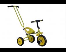 Детский трехколесный велосипед с родительской ручкой желтый