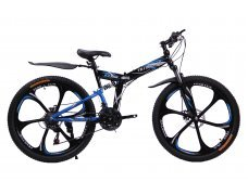 """Велосипед скоростной """"Troblade 5.0 GX"""" 26 на литых дисках складной, 24 скорости, черно-синий"""