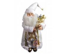Дед Мороз музыкальный бело-золотой 70 см