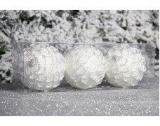 """Новогодние шары на елку """"Белая юбка"""" 8см 3шт 96pcs"""