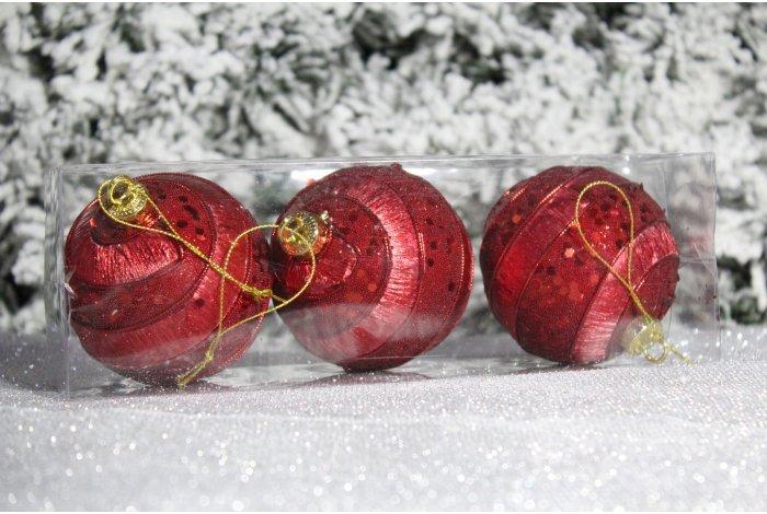 """Новогодние шары красные на елку """"Пайетки и круги"""" 8см 3шт 96pcs"""