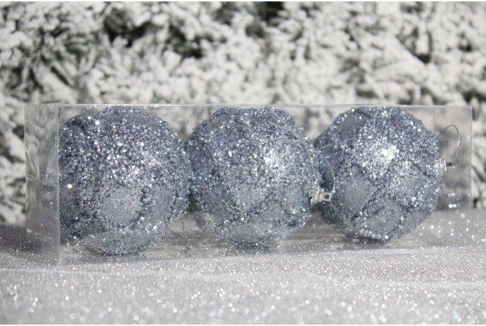 """Новогодние шары на елку """"Сетка серебристая"""" 8см 3шт 96pcs"""