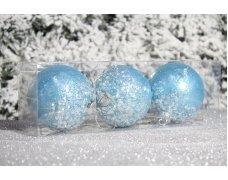 """Новогодние шары голубые на елку """"Присыпка"""" 8см 3шт 96pcs"""