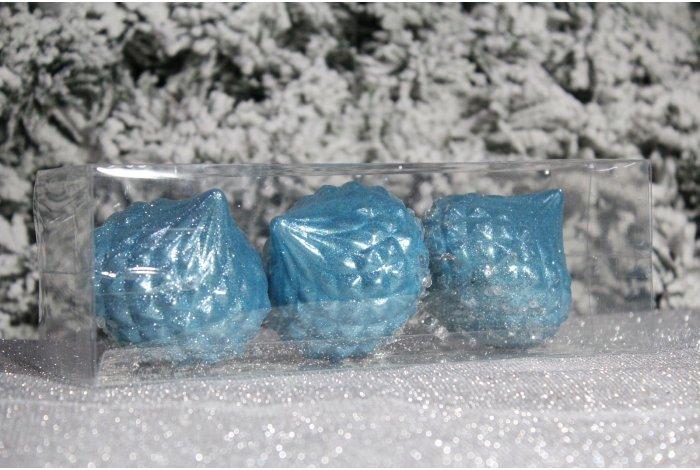 """Новогодние шары голубые на елку """"Юла с присыпкой"""" 8см 3шт 96pcs"""