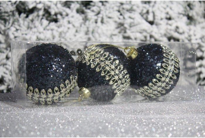 """Новогодние шары черные на елку """"Узор"""" 8см 3шт 96pcs"""