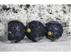 """Новогодние шары черные на елку """"Спираль"""" 8см 3шт 96pcs"""