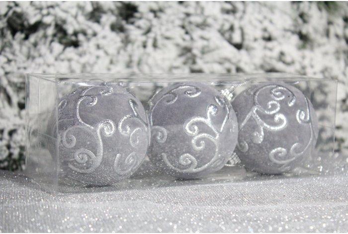 """Новогодние шары на елку """"Серебристый ажур"""" 8см 3шт 96pcs"""