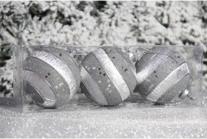 """Новогодние шары на елку """"Бежевые пайетки"""" 8см 3шт 96pcs"""