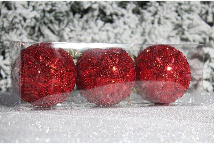 """Новогодние шары красные на елку """"Узоры"""" 8см 3шт 96pcs"""
