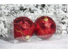 """Новогодние шары красные на елку """"Треугольнички"""" 10см 2шт 90pcs"""