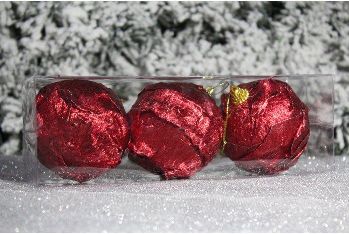 """Новогодние шары красные на елку """"Роза"""" 8см 3шт 96pcs"""